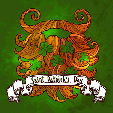 St. Patricks day greeting, red beard with clover and vintage ribbon banner with congratulation on a green background Illustration