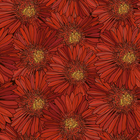 pattern with red gerbera, flower texture