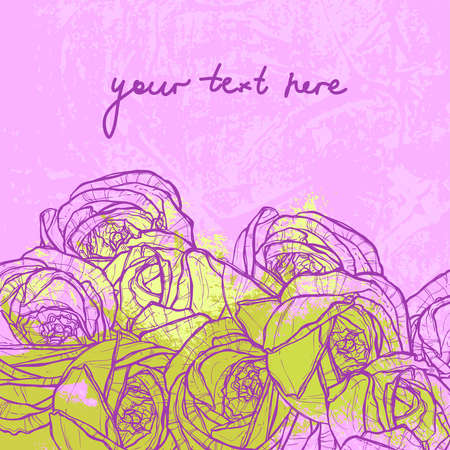 pink and light green floral grunge background with place for text