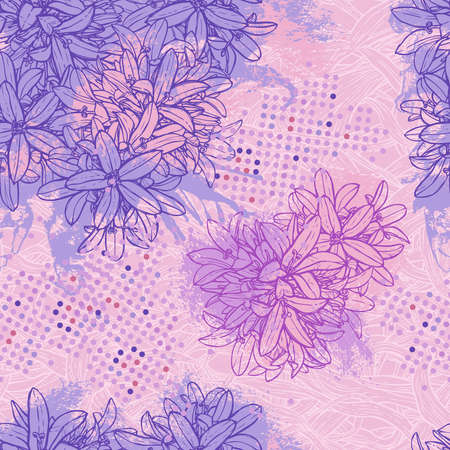 Pink and lilac floral pattern with blots Reklamní fotografie - 92995607