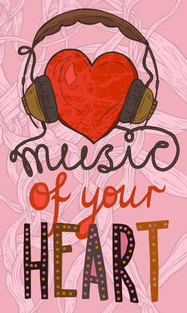 red heart with headphones, hand-drawn funny music illustration with music