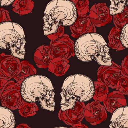 Gotisches Muster mit Schädeln und roten Rosen Standard-Bild - 92995706