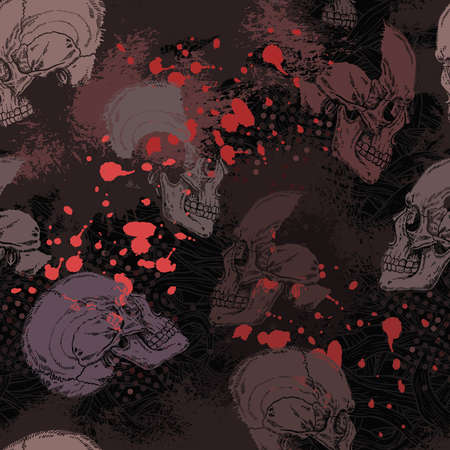 Grunge gothic horror pattern with skulls and red blots in black and gray color