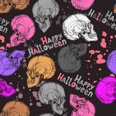 Halloween pattern with color skulls, text and blots Ilustração