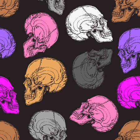 Pattern with gray, pink, violet, white and brown skulls