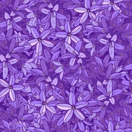 보라색 꽃 패턴과 보라색 꽃 일러스트