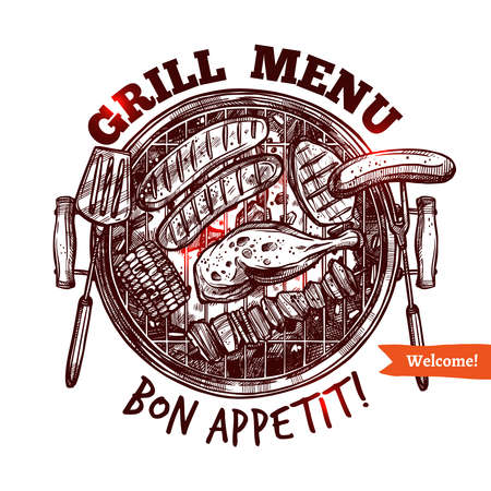 Bbq Barbecue Grill Drawn Menu Emblem Ilustração