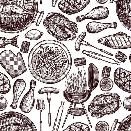 Bbq Barbecue Grill Sketch Seamless Pattern