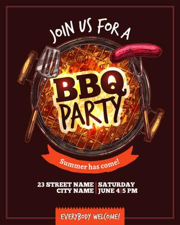 Affiche dessinée à la main de barbecue barbecue