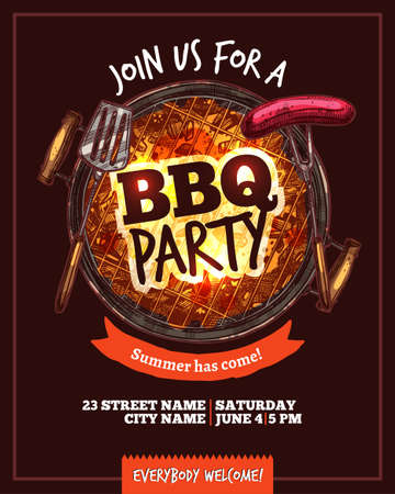 Bbq Barbecue Party Hand Drawn Poster 免版税图像 - 100603508
