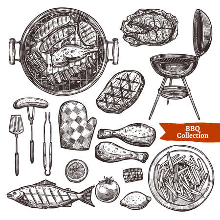 Bbq Grill Sketch Set. Hand Drawn Barbecue Collection
