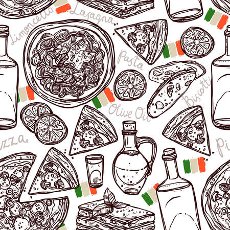 Italian Food Hand Drawn Seamless Pattern