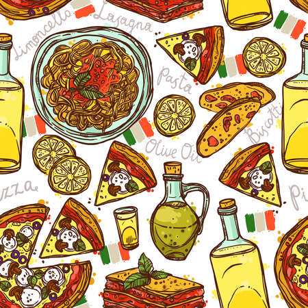 Italian Food Sketch Color Seamless Pattern