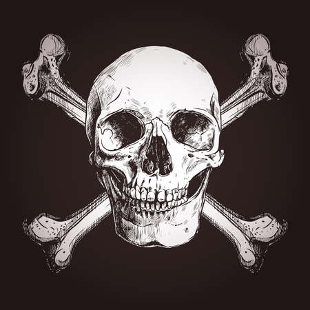 Skull And Two Cross Bones On The Dark Background