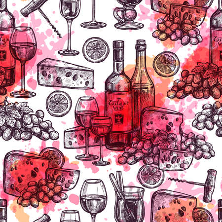 Hand Drawn Seamless Wine Pattern With Cheese, Wineglasses, Wine Bottles And Watercolor Texture