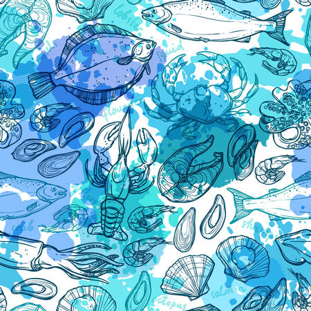 Seamless Hand Drawn Seafood Pattern With Blue Watercolor Texture Ilustração