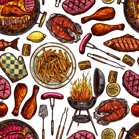 Bbq Barbecue Grill Color Sketch Seamless Pattern