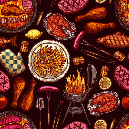 Bbq Barbecue Grill Color Sketch Seamless Pattern On Dark Background