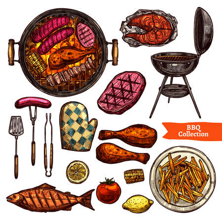 Bbq Grill Color Sketch Set. Hand Drawn Barbecue Collection Illustration