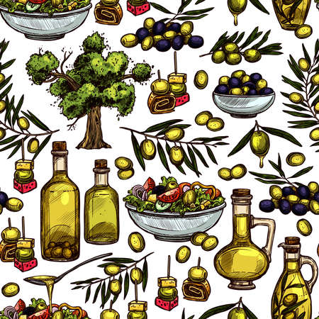 Hand Drawn Color Olive Oil Seamless Pattern With Sketch Olive Tree, Olive Branches And Olive Bottles Illustration