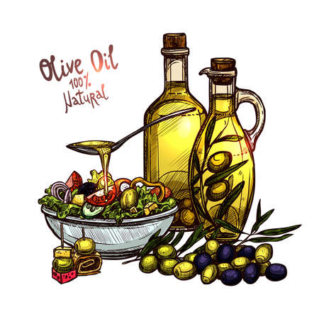 Hand Drawn Still Life With Olive Oil, Olive Branches, Olive Bottles And Vegetable Salad. Color Sketch Style