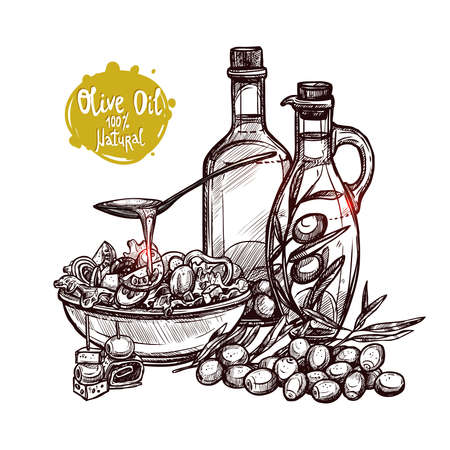 Hand Drawn Still Life With Olive Oil, Olive Branches, Olive Bottles And Vegetable Salad. Monochrome Sketch Style