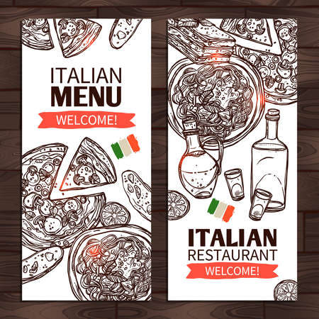 Italian Food Vertical Banners. Italian Menu And Italian Restaurant Design Illustration