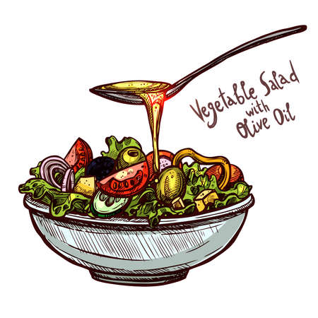 Sketch Hand Drawn Vegetable Salad With Spoon Of Olive Oil Zdjęcie Seryjne - 100609836