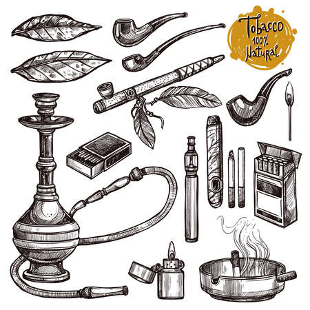 Tobacco And Smoking Sketch Set. Hand Drawn Cigarettes, Cigars, Hookah, Matches, Tobacco Leaves, Ceremonial Pipe, Lighter, Ashtray, Vintage Tobacco Pipes Иллюстрация