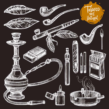 Tobacco And Smoking Sketch Set. Hand Drawn Cigarettes, Cigars, Hookah, Matches, Tobacco Leaves, Ceremonial Pipe, Lighter, Ashtray, Vintage Tobacco Pipes On The Chalkboard