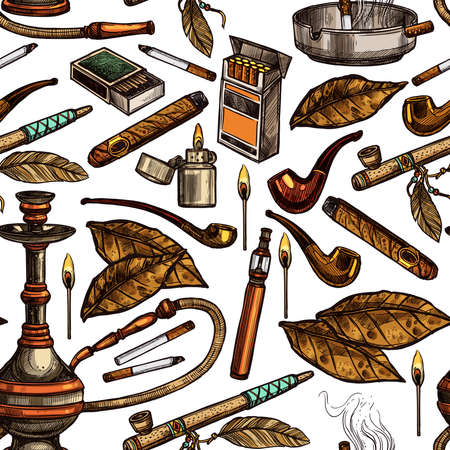 Tobacco And Smoking Sketch Seamless Hand Drawn Colorful Pattern