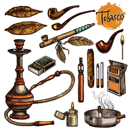Tobacco And Smoking Sketch Set. Colorful Hand Drawn Cigarettes, Cigars, Hookah, Matches, Tobacco Leaves, Ceremonial Pipe, Lighter, Ashtray, Vintage Tobacco Pipes Illustration