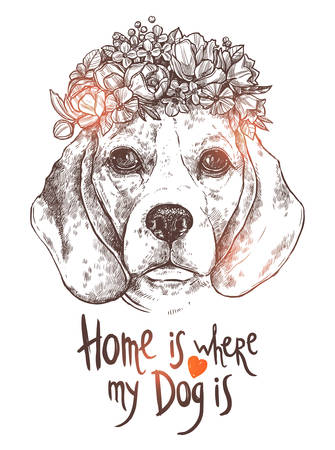 Portrait Of Beagle Dog With Flower. Sketch Hand Drawn Monochrome Style