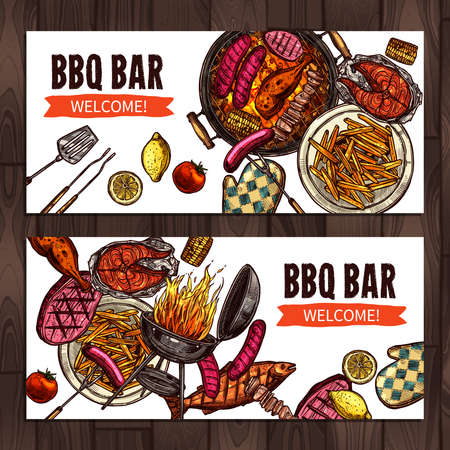 Bbq Grill Party Color Sketch Hand Drawn Horizontal Banners