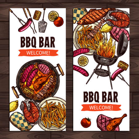 Bbq Grill Party Color Sketch Hand Drawn Vertical Banners