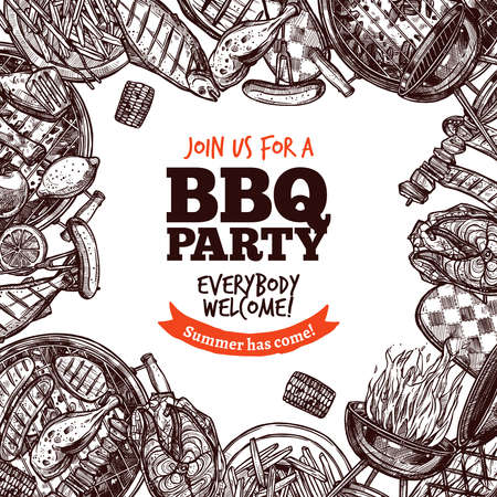 Bbq Grill Party Monochrome Sketch Hand Drawn Background