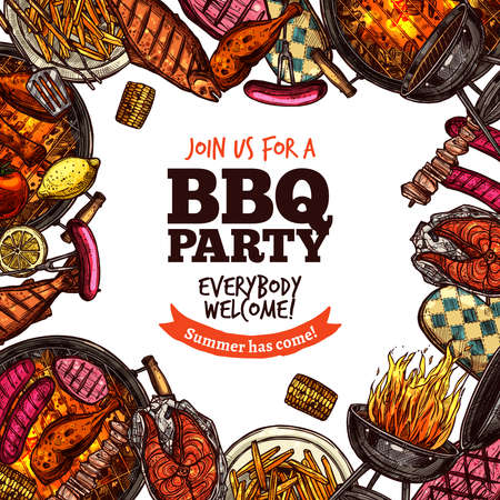 Bbq Grill Party Color Sketch Hand Drawn Background