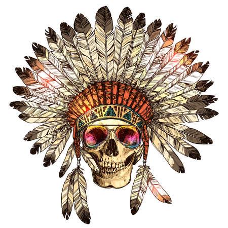 Copricapo indiano nativo americano di colore disegnato a mano con teschio umano e occhiali da sole alla moda. Schizzo Hipster Boho illustrazione con cappello di piume capo tribale indiano, teschio, occhiali Vettoriali