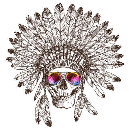 Hand Drawn Native American Indian Headdress With Human Skull And Fashion Sunglasses. Sketch Hipster Boho Illustration With Indian Tribal Chief Feather Hat, Skull, Spectacles. Vettoriali