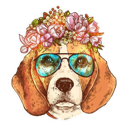 Portrait Of Beagle Dog With Flower Floral Wreath And Sunglasses. Sketch Color Hand Drawn Vintage Style. Ilustração