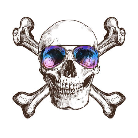 Sketch Skull With Two Cross Bones And Sunglasses. Hand Drawn Vintage Illustration
