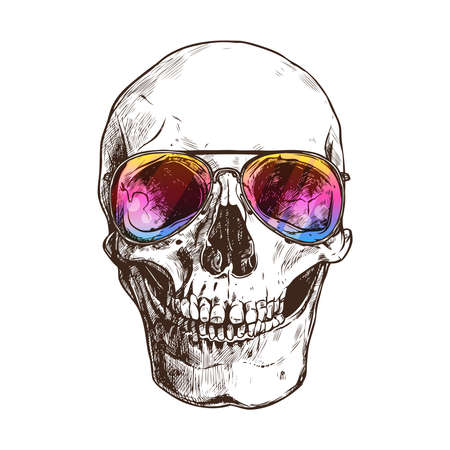 Hand Drawn Human Skull With Sunglasses. Sketch Vintage Style. Hipster Boho Fashion Vector Illustration