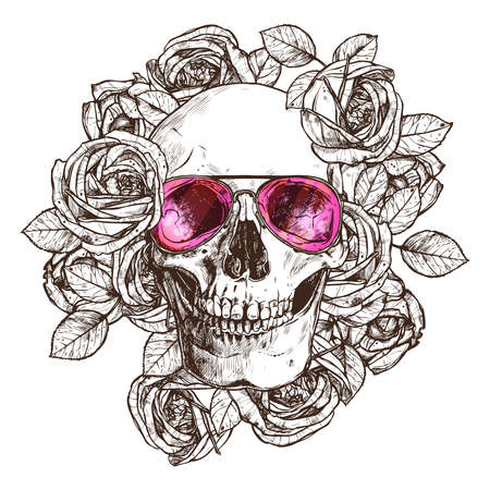 Hand Drawn Human Skull With Sunglasses, Flowers. Sketch Vintage Style. Hipster Boho Fashion Vector Illustration Of Skull With Roses Illustration