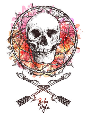 Boho Sketch Illustration With Hand Drawn Human Skull With Indian Arrows And Dreamcatcher. Hipster Fashion Print With Grunge Blots And Splash