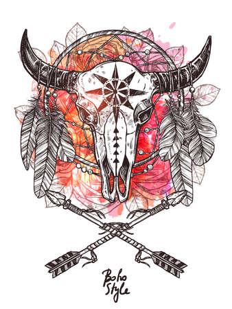 Boho boceto ilustración con cráneo de toro dibujado a mano con flechas indias, plumas y atrapasueños. Impresión de moda hipster con manchas de grunge y salpicaduras.