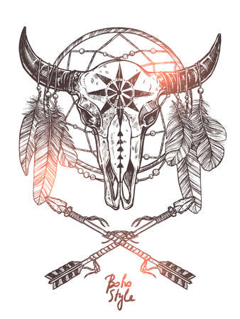 Boho Sketch Illustration With Hand Drawn Bull Skull With Indian Arrows, Feathers And Dreamcatcher. Monochrome Hipster Fashion Print