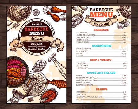 Barbecue Restaurant Menu. Template Design illustration. Иллюстрация