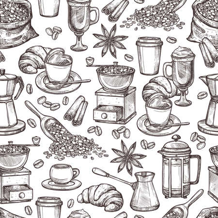 Coffee Attributes Monochrome Hand Drawn Seamless Pattrn. Coffee Sketch Background  イラスト・ベクター素材
