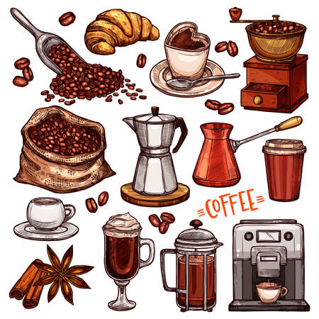 Coffee Color Hand Drawn Collection. Vector Sketch Illustration Set With Turk, Cups, Coffee Bag With Beans, Croissant, Coffee Mill, Coffee Maker, Kettle, Cups, Latte, Cinnamon, Star Anise