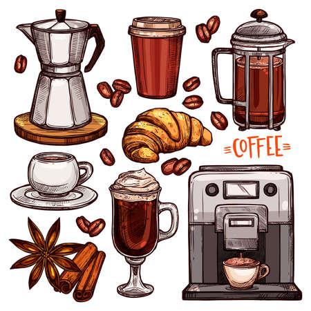Koffie kleur Hand getrokken collectie. Vector schets illustratie set met koffiezetapparaat, waterkoker, kopjes, croissant, latte, kaneel, steranijs, koffiebonen Vector Illustratie